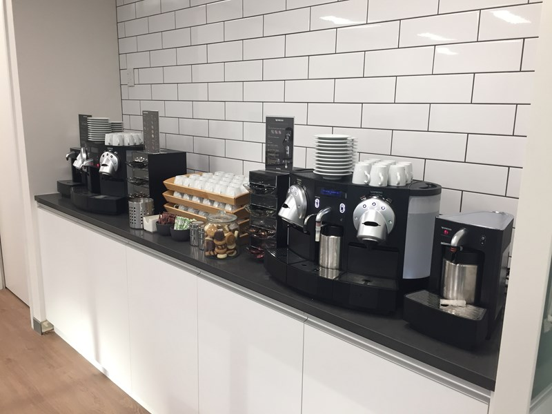Karstens Auckland Coffee Station with continuous Nespresso coffee. Pickwick Teas and biscuits